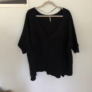 Free People V-neck Black Sweater